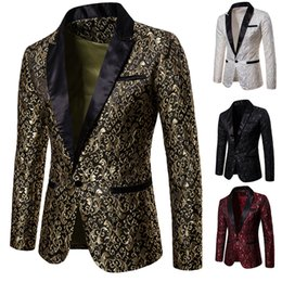 elegant suit white NZ - Slim Fit Blazer Men 2020 New Arrival Mens Floral Blazers Floral Prom Dress Blazers Elegant Wedding Blazer and Suit Jacket Men