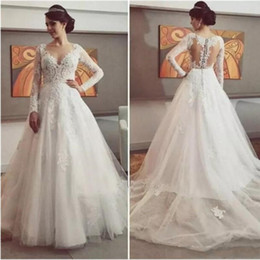 Delicate Lace Back Wedding Dress Australia - 2019 Delicate Lace Dresses Appliques Tulle Wedding Dress Button Tiered Skirts Back Long Sleeve V-Neck Glamorous Wedding Gowns