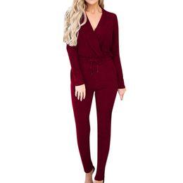 $enCountryForm.capitalKeyWord NZ - wholesale Fashion Comfortable Women's Solid Bandage V-Neck Party Playsuits Ladies Romper Slim Long Jumpsuits M300111