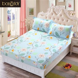 Discount brown fitted sheet - Bed Sheet With case Blue Flower Printed Bed Linen Queen Size Mattress Covers Fitted Sheet Sets With Elastic For King Siz