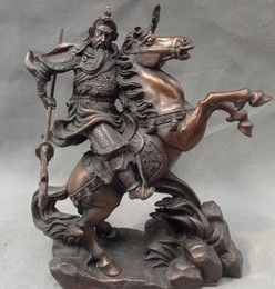 "chinese statue gods 2020 - 8"" Chinese Pure BRASS Dragon Head Warrior Guan Gong Yu God Ride Horse Statue statues garden decoration cheap chines"