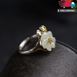 Ring Flowers Australia - Pinky New Arrival Top Quality 925 Silver Natural Hotan Jade Spraying Flower Peach Blossom Gilt Hatch Ring Temperament Grace Nation