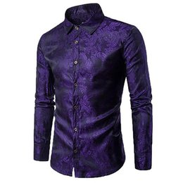 long hot dress dance Australia - 2019 hot New Men's Long Sleeve Printed Silk Dress Shirt Dance Prom Party Button Down Fashion Shirts