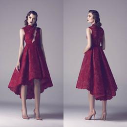 $enCountryForm.capitalKeyWord Australia - Dark Red Short Prom Dresses 2019 Popular Hi Lo Lace Designer Homecoming Cocktail Party Dresses Fadwa Baalbaki Formal Evening Gowns Cheap