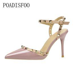 $enCountryForm.capitalKeyWord NZ - Dress Shoes Poadisfoo 2019 Women Pumps Buckle Strap Sexy Nightclub Thin High-heeled Shallow Pointed Rivets Pierced Women's .zwm-6289-5