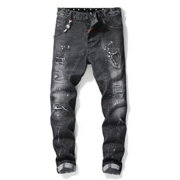 Neue hochwertige Herrenmode Stich Luxus Jeans Designer Männer Jeans Loch Berühmte Marke Slim Fit Mens Printed Jeans Biker Denim Hosen im Angebot