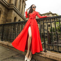 Wholesale red trench dress for sale - Group buy New spring dress Evening dress Yousef aljasmi Vintage Dresses Mid Calf Longer trench coat women cultivate one s morality show thin