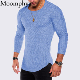 $enCountryForm.capitalKeyWord Australia - Moomphya 2018 Men Long Sleeve T Shirt Longline Curve Hem Hip Hop Tshirt Slim Fit Striped Rib Funny T-shirt Men Streetwear SH190706