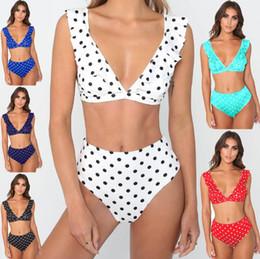 Polka Dot Panties Australia - Women Falbala Floral Bikini Set Push Up Swimwear Polka Dot Slim Bathing Suits Summer Beachwear Bras Panties Tankini OOA6487
