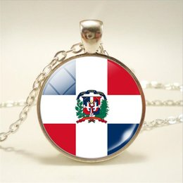 pendant cabochon Canada - 2019 Punk Style Time Gem Glass Cabochon Dominican National Flag World Cup Football Fan Men Female Pendant Necklace Long Chain Choker Jewelry