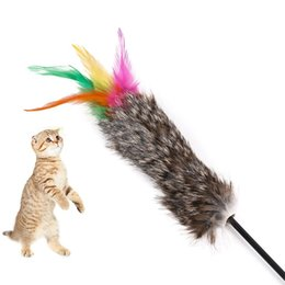 toys for pet rabbits NZ - Rabbit Furs Hot Sale Cat Toys Soft Colorful Feather Bell Rod Toy for Cat Kitten Funny Playing Interactive Toy Pet Cat Supplies p102200PC