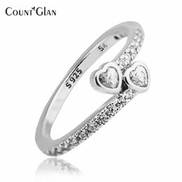 Original 925 Sterling Silver Rings Australia - 2017 New Style Forever Hearts Silver Rings with Clear CZ Original 100% 925 Sterling Silver Jewelry DIY Wedding Rings