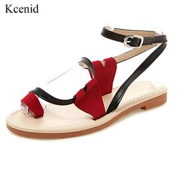 Ankle Strap Sandals Pu Leather NZ - Kcenid New PU leather roman casual shoes flip flops summer beach shoes women ankle strap summer sandals plus size 34-50 black