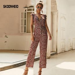 $enCountryForm.capitalKeyWord Australia - Skoonheid Chiffon Floral Jumpsuits Women Long Pants V Neck Wide Leg Pants Rompers Loose Holiday Bohemian Summer Print Overalls MX190726