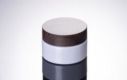 BamBoo jar online shopping - 30ml g White Glass Cream Jar with black wooden lids Cap Glass Container Cosmetic glass jar with bamboo wood cap SN2547