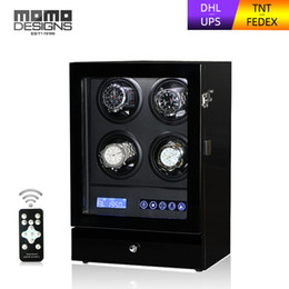 touch screen luxury watch UK - LUXURY Watch winder 4 automatic watches box with Remote and LCD touch screen LUXURY wood watch box Transparent cover-s204