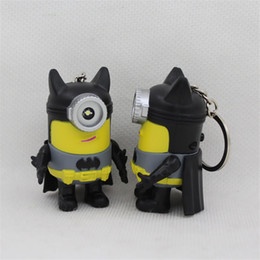 Batman Metal Keychain Australia - Movie LED 3D Batman Minions Cosplay Keychain Superhero Batman Minions Keyring with Sound Valentine's Day Gifts Toy Key Ring Car Keychain