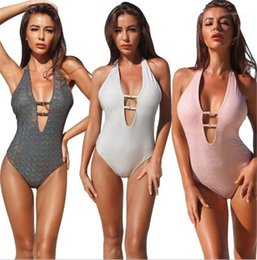v swimsuits Australia - Deep V Neck High Waist Swimwear Summer Women Designer Bikini Fashion Drilling Hollow Out Halter Swimsuits Sexy