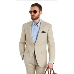 $enCountryForm.capitalKeyWord NZ - Tailor Made Beige Groom Tuxedos Slim Fit Mens Wedding Prom Party Suits Casual Man Suit Bridegroom Suit(Jacket+Pants)