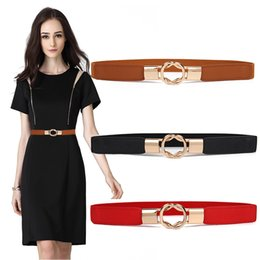 Elastic Belt Ring Australia - HOT Gold Ring Alloy Buckle Cummerbunds Thin Elastic Belt Women party Waistband For Dress Shorts Jeans Skirt simple Cummerbund