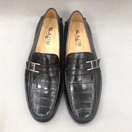 $enCountryForm.capitalKeyWord NZ - Business Style Authentic Crocodile Belly Skin Men's Dress Shoes Exotic Genuine Alligator Leather Male Slip-on Shoes For Suits