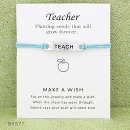 $enCountryForm.capitalKeyWord Australia - 2019 Wish Teacher Charm Wrap bracelets with Gift Card women designer Infinity Wristband Bangle For Men s Fashion Jewelry Bulk
