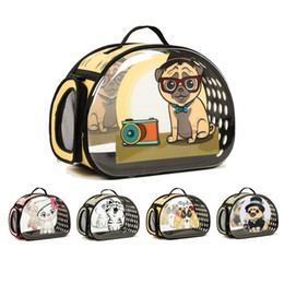 Bags Carry Puppies Australia - Transparent Dog Carrier Foldable Handbag Cat Travel Bag Breathable Shoulder Bags For Small Dogs Puppy Carrying Pet Backpack