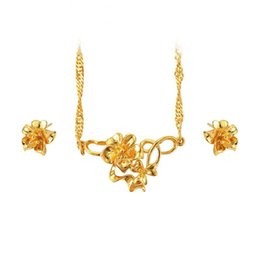 9bc4c1e90814 (239S) Traditional Flower Earring and Necklace Jewelry set For Women Bridal  Wedding Jewelry 24k Pure Gold Plated High Quality
