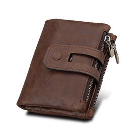 Rfid Print Australia - Hot!! Genuine Leather Men Wallet Small Men Wallets Double Zipper&Hasp Male Portomonee Short Coin Purse Carteira For Rfid Pocket #160098
