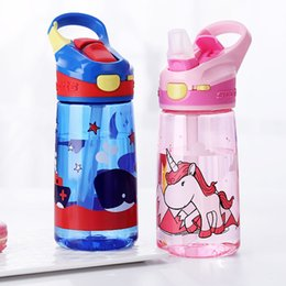hand water bags Australia - Enfant 450ml Portable Tritian Material Bpa Free Safe Duck Straw Kids Water Bottle With Lock Cartoon Cup Q190525