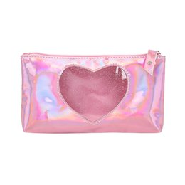 $enCountryForm.capitalKeyWord Australia - Clear Laser Girls Cosmetic Bag Fashion Lady Holding Heart-Shaped Lipstick Storage Cosmetic Makeup Bag Travel Organizer