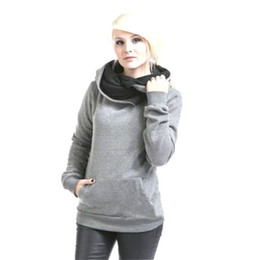 Hoodie scarves online shopping - Kenancy Spring Autumn Casual Warm Soft Women Hoodies Solid Colors Scarf Collar Long Sleeves Sweatshirts Plus Size XL Tops