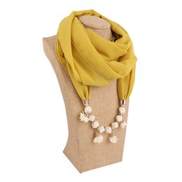 Design Shawl Chiffon UK - Fashionable women color resin pendant beads jewelry scarf shawl new design necklace scarf scarf free shipping
