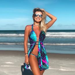 811e83aea921 Blue gradient fish scale hanging neck strap mermaid print mini dress bikini  three-piece set beach wind sexy suit crop top women