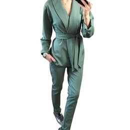Blue Ladies Slimming Jacket UK - MVGIRLRU stylish Office Lady Sets pant suits shawl collar belted blazer jacket and pant two piece set OL Streetwear T190611