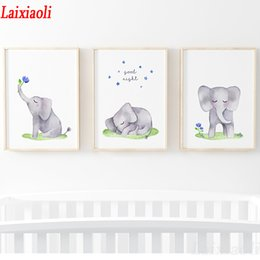 $enCountryForm.capitalKeyWord Australia - Full square round diamond embroidery Cute Watercolor Elephant rhinestones mosaic diy diamond painting baby room 3pcs decoration