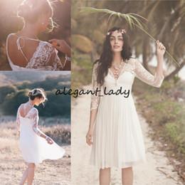 $enCountryForm.capitalKeyWord UK - Little White Dress Short Beach Wedding Dresses Lace 3 4 Sleeves Illusion V-neck holiday reception Bridal Gowns Backless Vestidos De Novia