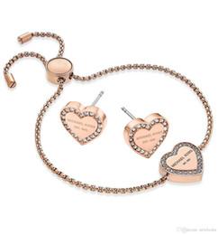 Новый дизайн розовое золото / 18K золото бриллиантовый браслет серьги комплект ювелирных изделий для женщин ювелирные изделия Красивая Свадьба / обручальное подарок