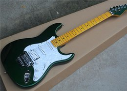 Pearl hardware online shopping - Factory Green Electric Guitar with White Pearl Pickguard Yellow Maple Fretboard Double Rock Chrome Hardware Can be Customized