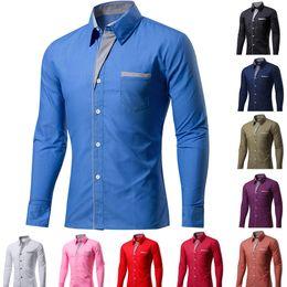 Korean Shirts Designs Australia - New Fashion Brand Camisa Masculina Long Sleeve Shirt Men Korean Slim Design Formal Casual Male Dress Shirt Plus Size M-4XL