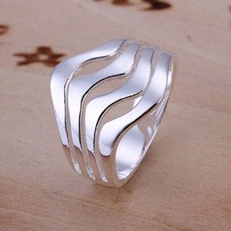 Nickle Free Rings Australia - Wholesale- free shipping 925 jewelry silver plated ring,high quality , Nickle free,antiallergic Water Waves Ring junr dzdx