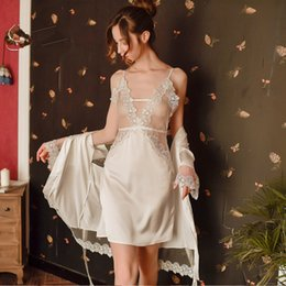 $enCountryForm.capitalKeyWord Australia - Free size hot sale ladies nightwear floral lace Lingeries hollow out sheer mesh dress+Robes women sexy sleepwear set #S334
