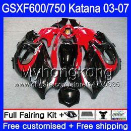 Red Katana Australia - GSXF-600 For SUZUKI KATANA GSXF 750 600 GSXF600 glossy black red 03 04 05 06 07 293HM.44 GSX 750F GSXF750 2003 2004 2005 2006 2007 Fairing
