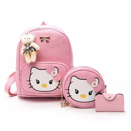 aa8d70c9d1 3 Pcs Set Hello Kitty Cat Cartoon Pattern Backpack Set Purse Women School  Bags Leather Cute Backpacks For Girls Shoulder Bags