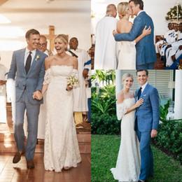 $enCountryForm.capitalKeyWord NZ - Cheap Bohemian Full Lace Beach Wedding Dress Plus Size Off The Shoulder Short Sleeve Floor Length Mermaid Wedding Gown
