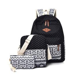 $enCountryForm.capitalKeyWord Australia - 3pcs Preppy Canvas Printing Backpack Set Women School Bags For Teenage Girls Mochilas Cute Black Travel Backpacks Female Bagpack