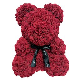 Valentines Gifts Bear UK - Larger Size 40cm Valentine Day Gift Artificial Roses Bear Wedding Party Decoration,Decoration Flower rose teddy bear foam rose