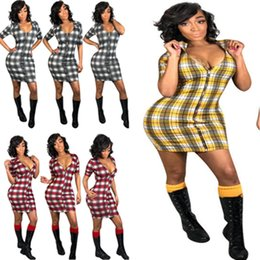 Summer Street Fashion Vintage Dresses Australia - Summer Women Plaid Dress Short Sleeve Full Front Zipper Tight Skirt Deep V Neck Skinny Dress 2019 Fashion Club Street Wear S-3XL A371