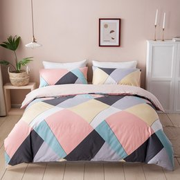 twin size bedding sets for kids UK - 100% Cotton Duvet Cover Set Geometric Fashion Bedding Set with Pillowcases for Women Girls Kids Pink Blue Single Twin Queen Size