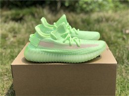 Shoes Glow Dark Women Australia - 2019 Authentic 350S V2 GID Glow In The Dark EH5360 Kanye West Man Women Running Shoes Black FU9161 Clay Static EF2905 Outdoor Shoes With Box